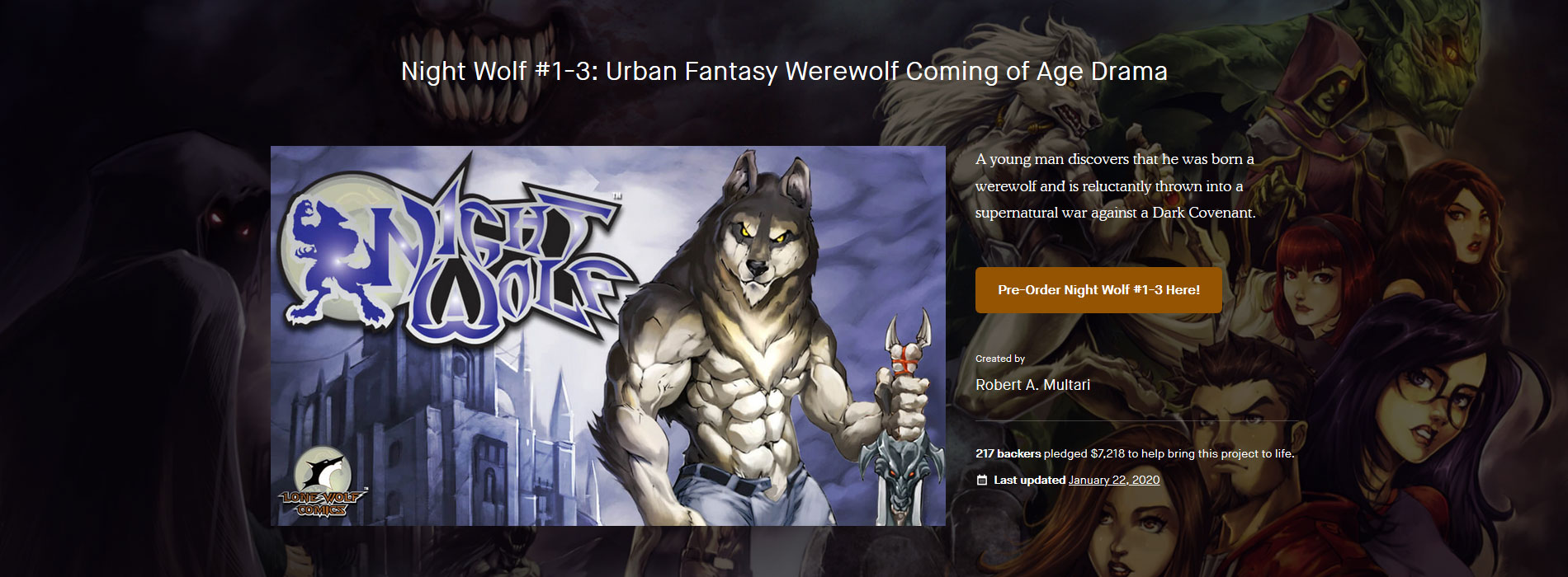 Night Wolf #1-3: Urban Fantasy Werewolf Coming of Age Drama Kickstarter