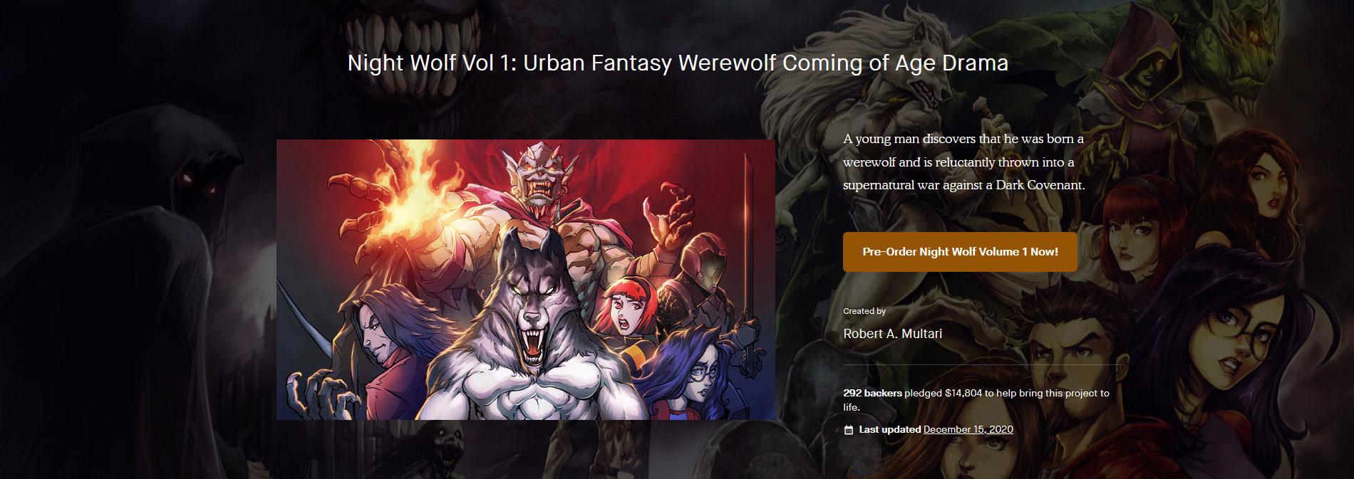 Night Wolf #1-4: Urban Fantasy Werewolf Coming of Age Drama Kickstarter